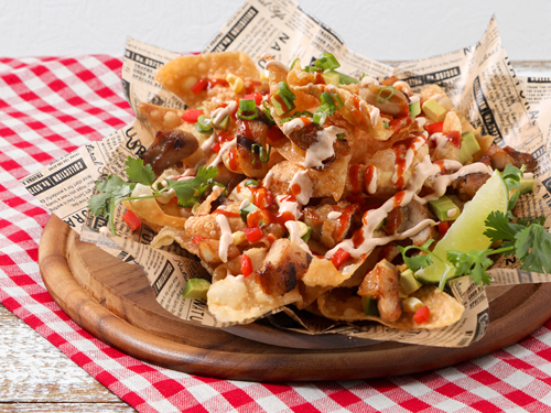 Wonton Nachos with Asian BBQ Chicken and Gochujang Hot Sauce