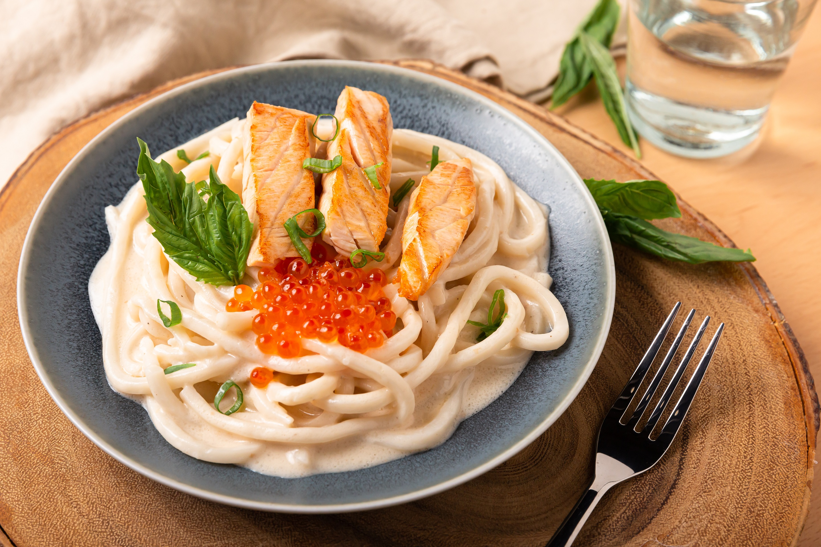 Creamy Udon with salmon & salmon roe